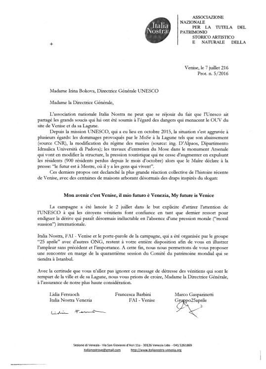 7 juillet lettera UNESCO